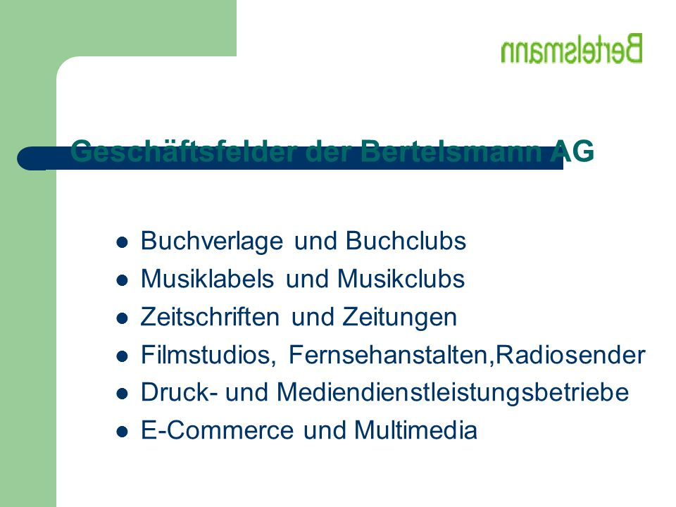 Geschäftsfelder der Bertelsmann AG