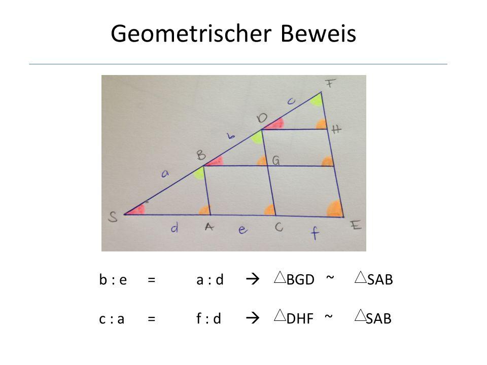 Geometrischer Beweis b : e = a : d  BGD ~ SAB