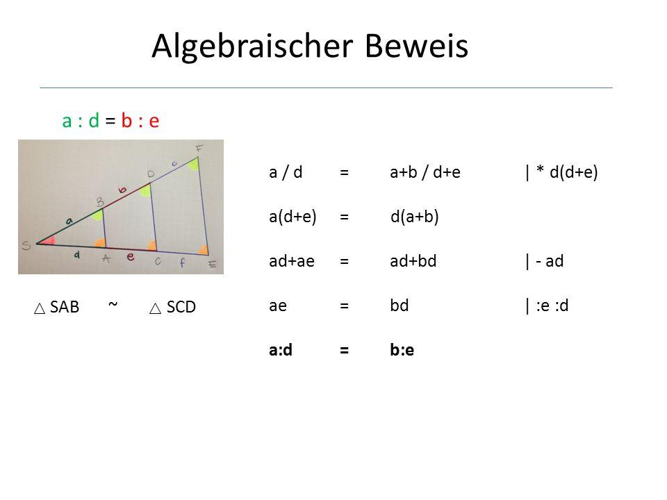 Algebraischer Beweis a : d = b : e a / d = a+b / d+e | * d(d+e)
