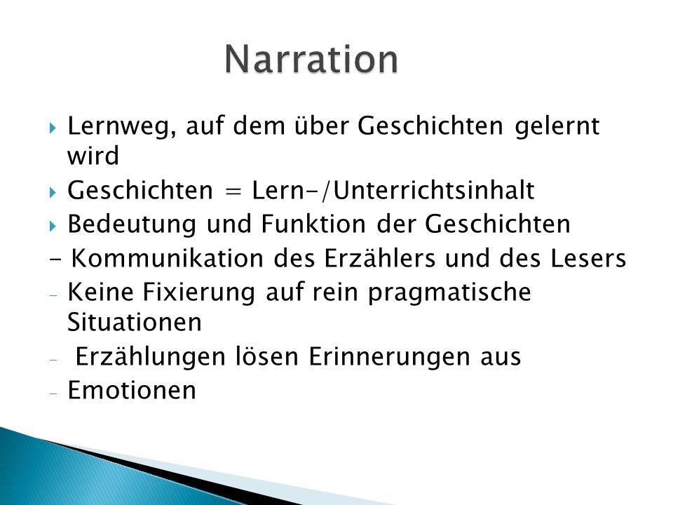 Narration Lernweg, auf dem über Geschichten gelernt wird