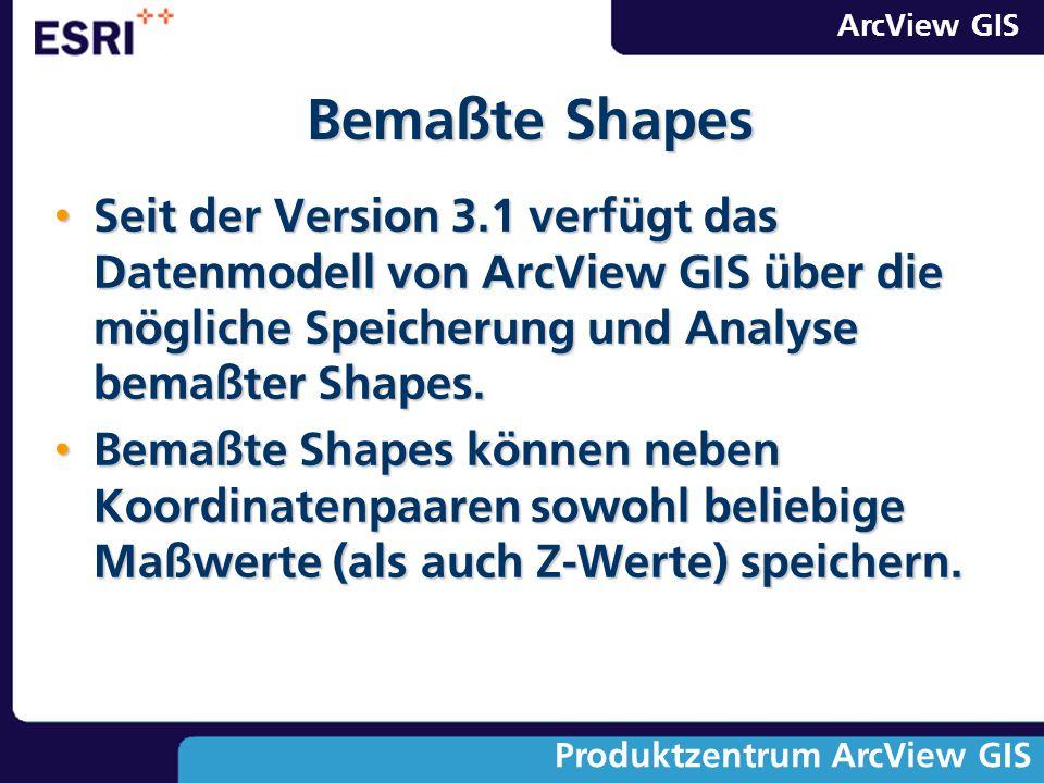 Bemaßte Shapes Seit der Version 3.1 verfügt das Datenmodell von ArcView GIS über die mögliche Speicherung und Analyse bemaßter Shapes.