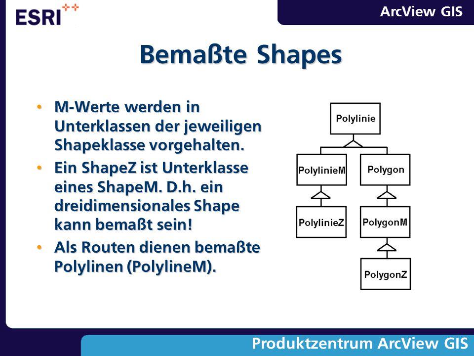 Bemaßte Shapes M-Werte werden in Unterklassen der jeweiligen Shapeklasse vorgehalten.