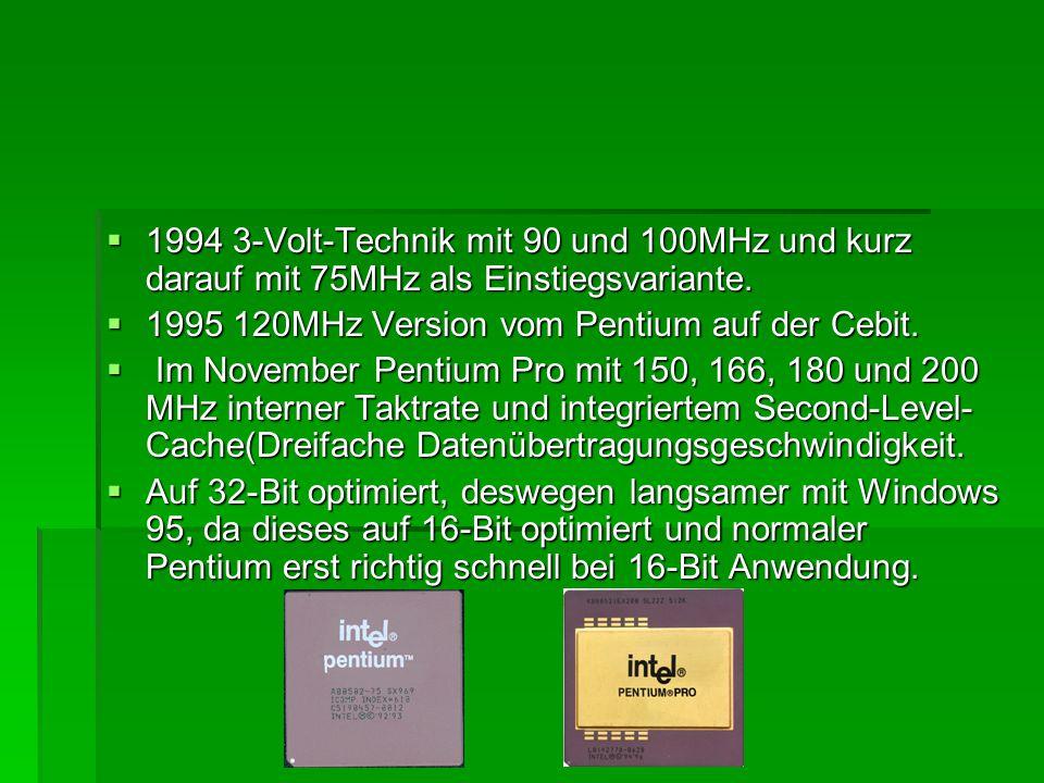 1994 3-Volt-Technik mit 90 und 100MHz und kurz darauf mit 75MHz als Einstiegsvariante.