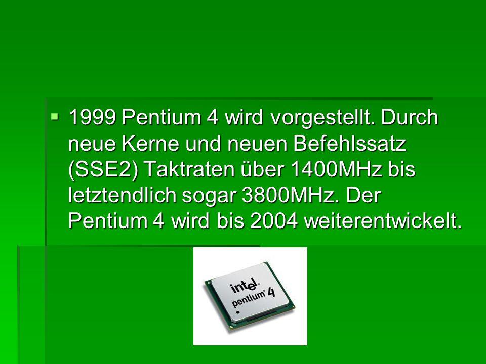 1999 Pentium 4 wird vorgestellt