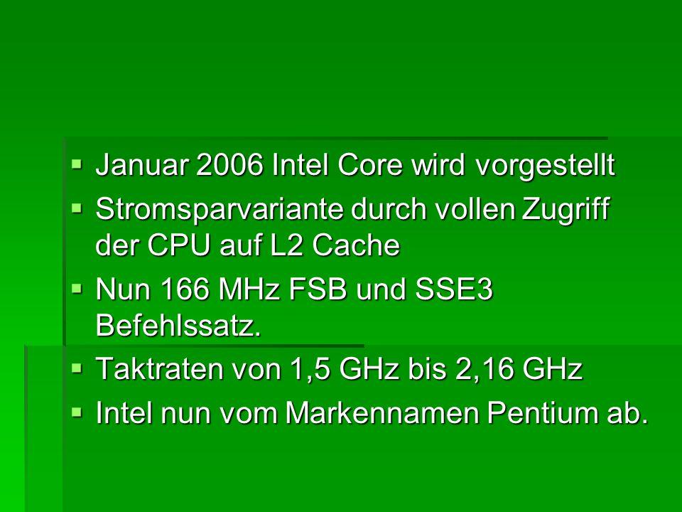 Januar 2006 Intel Core wird vorgestellt