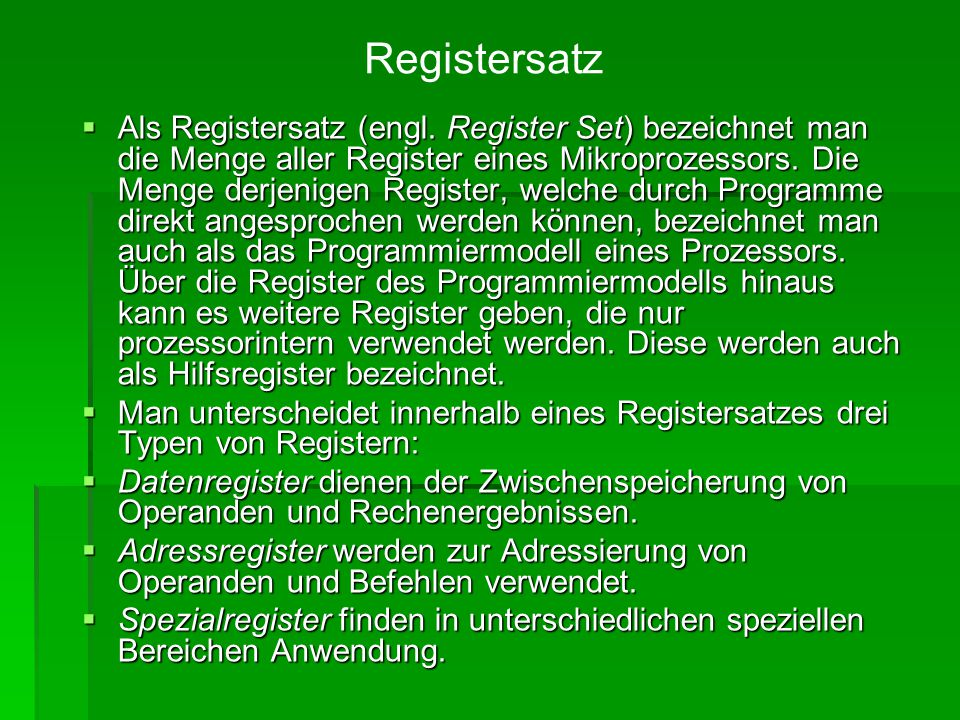 Registersatz