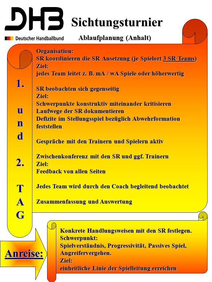 Sichtungsturnier 1. u n d 2. T A G Anreise: Ablaufplanung (Anhalt)