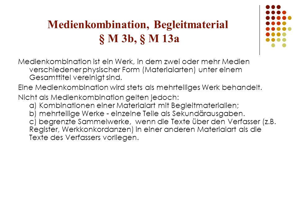 Medienkombination, Begleitmaterial § M 3b, § M 13a
