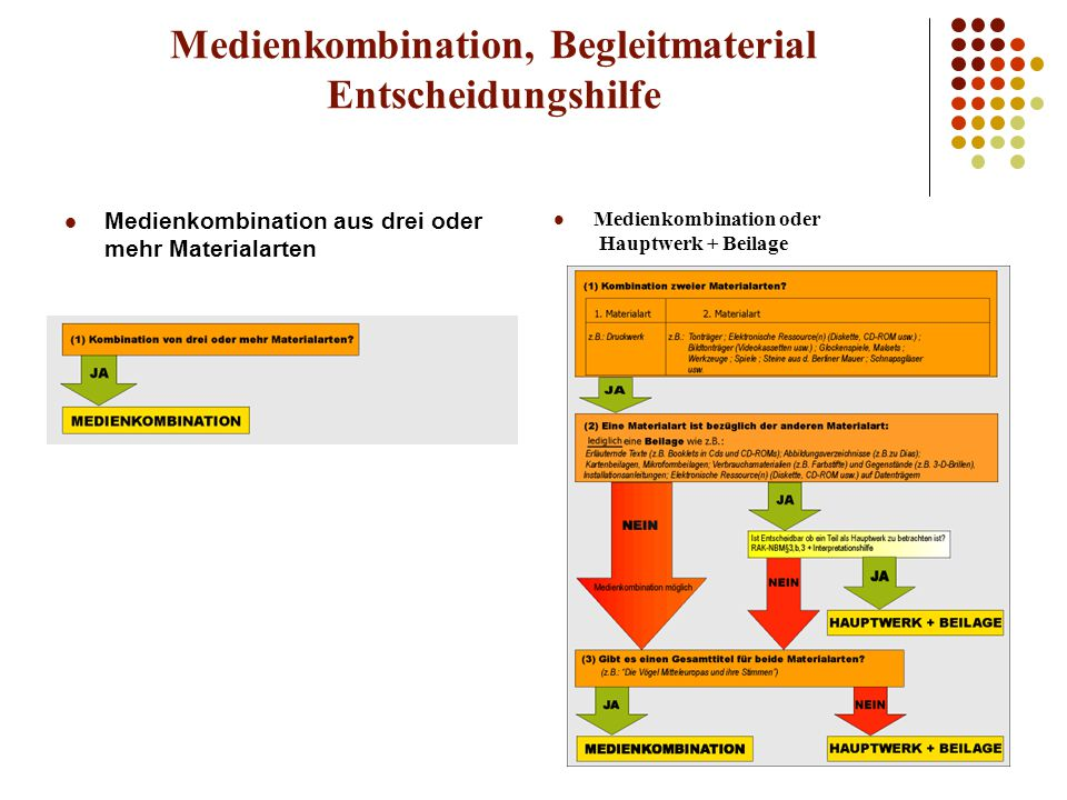 Medienkombination, Begleitmaterial Entscheidungshilfe