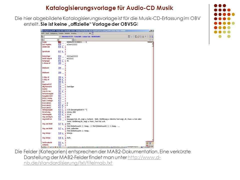 Katalogisierungsvorlage für Audio-CD Musik