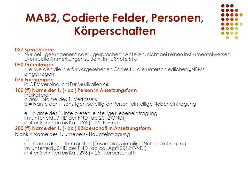 MAB2, Codierte Felder, Personen, Körperschaften
