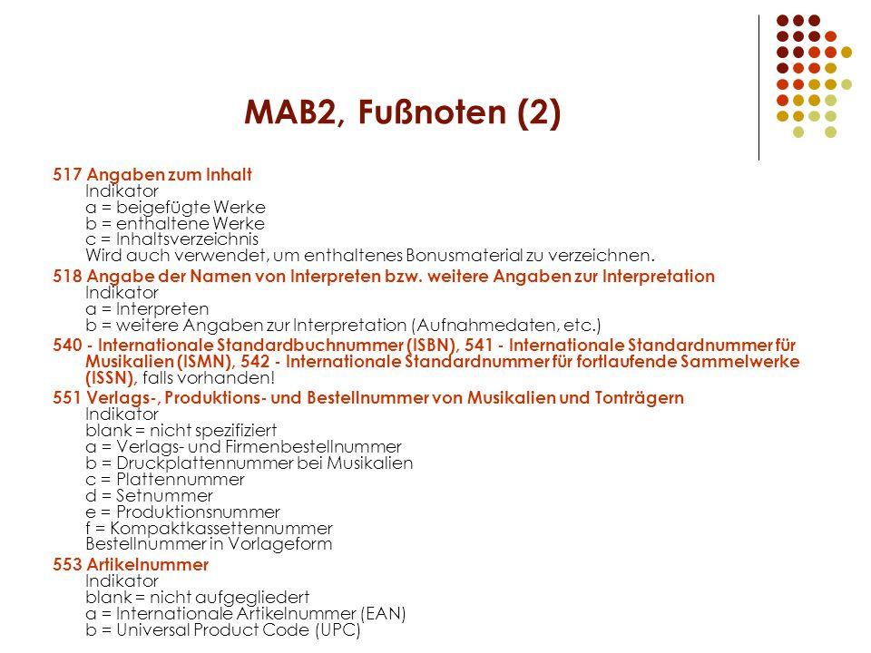 MAB2, Fußnoten (2)