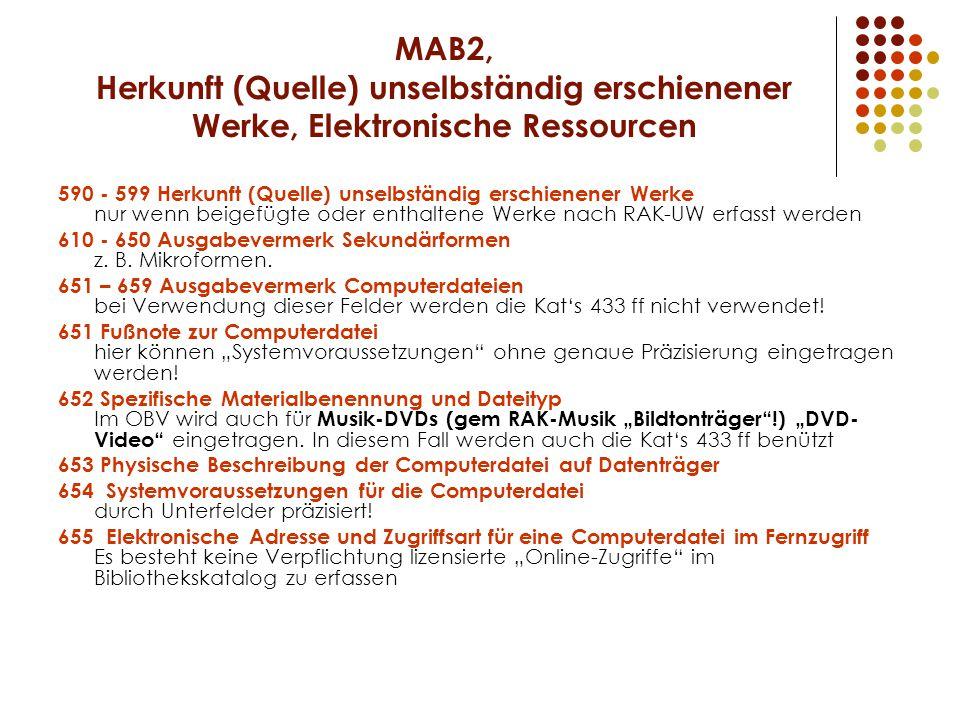 MAB2, Herkunft (Quelle) unselbständig erschienener Werke, Elektronische Ressourcen