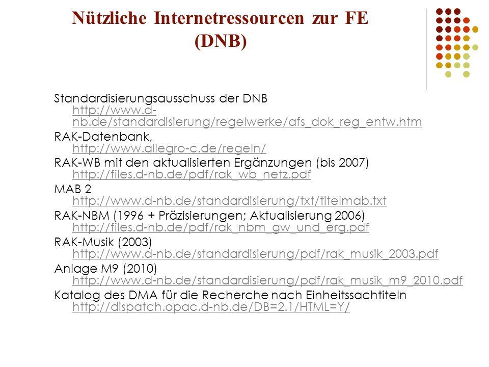 Nützliche Internetressourcen zur FE (DNB)
