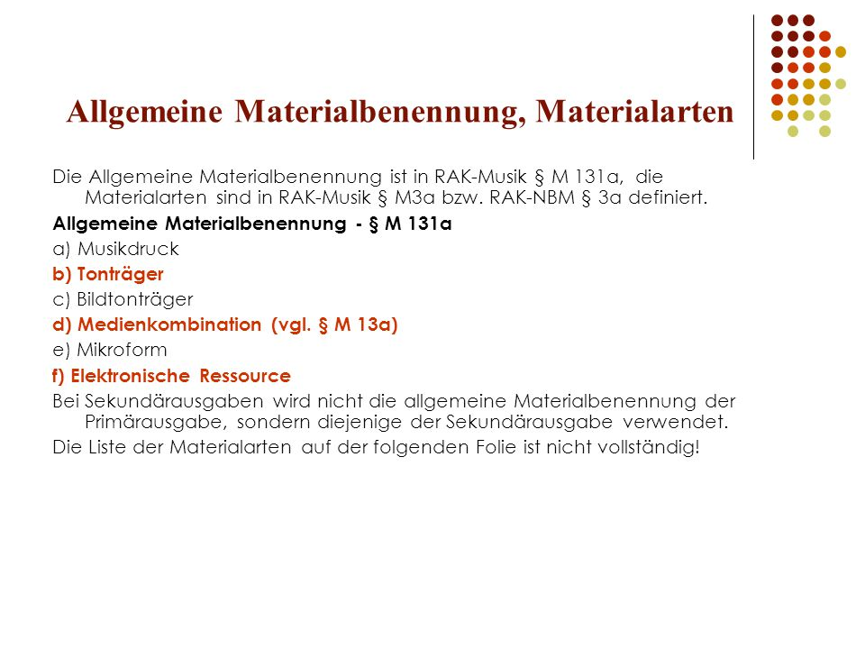 Allgemeine Materialbenennung, Materialarten