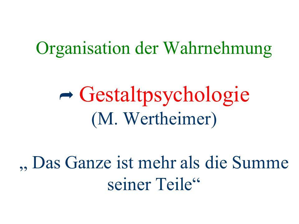 Organisation der Wahrnehmung  Gestaltpsychologie (M