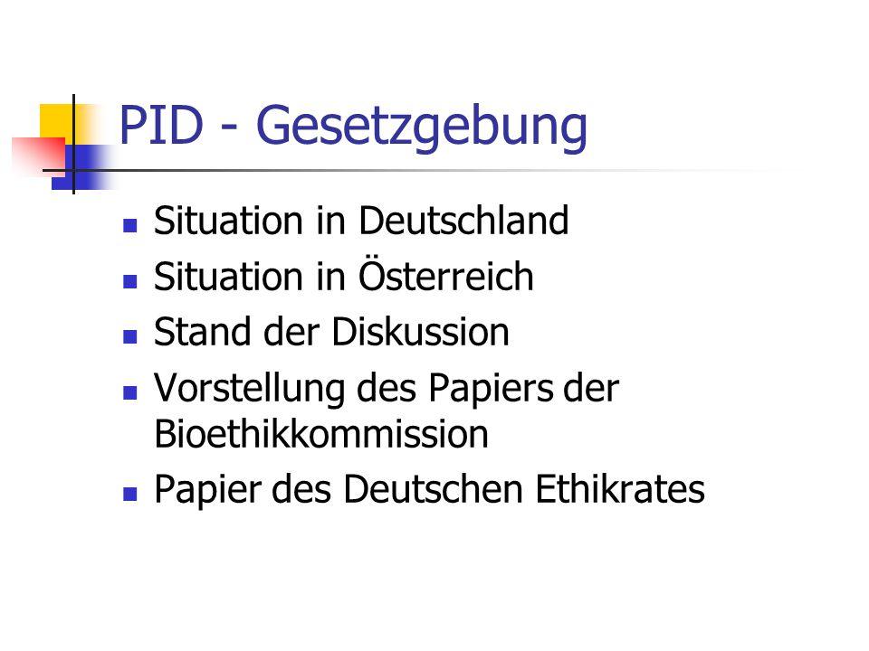 PID - Gesetzgebung Situation in Deutschland Situation in Österreich