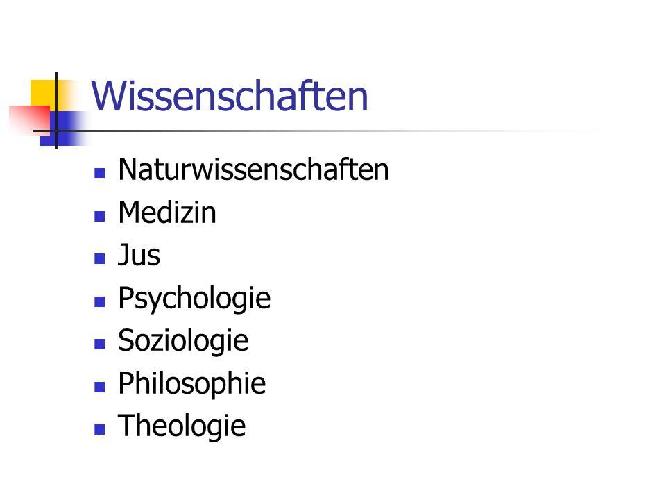 Wissenschaften Naturwissenschaften Medizin Jus Psychologie Soziologie