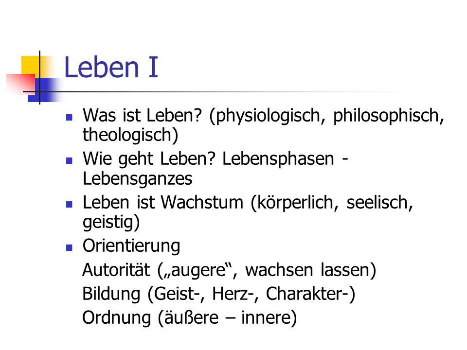 Leben I Was ist Leben (physiologisch, philosophisch, theologisch)