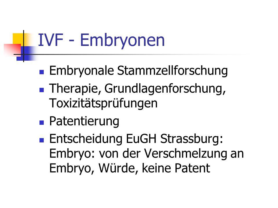 IVF - Embryonen Embryonale Stammzellforschung