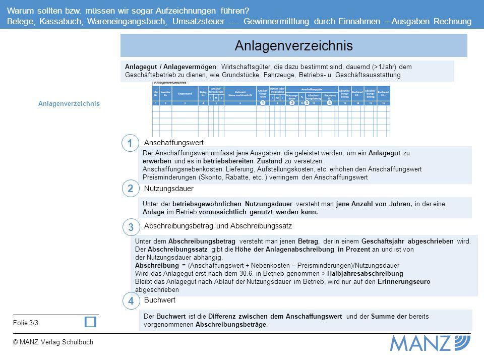 ü Anlagenverzeichnis 1 2 3 4 Anschaffungswert Nutzungsdauer