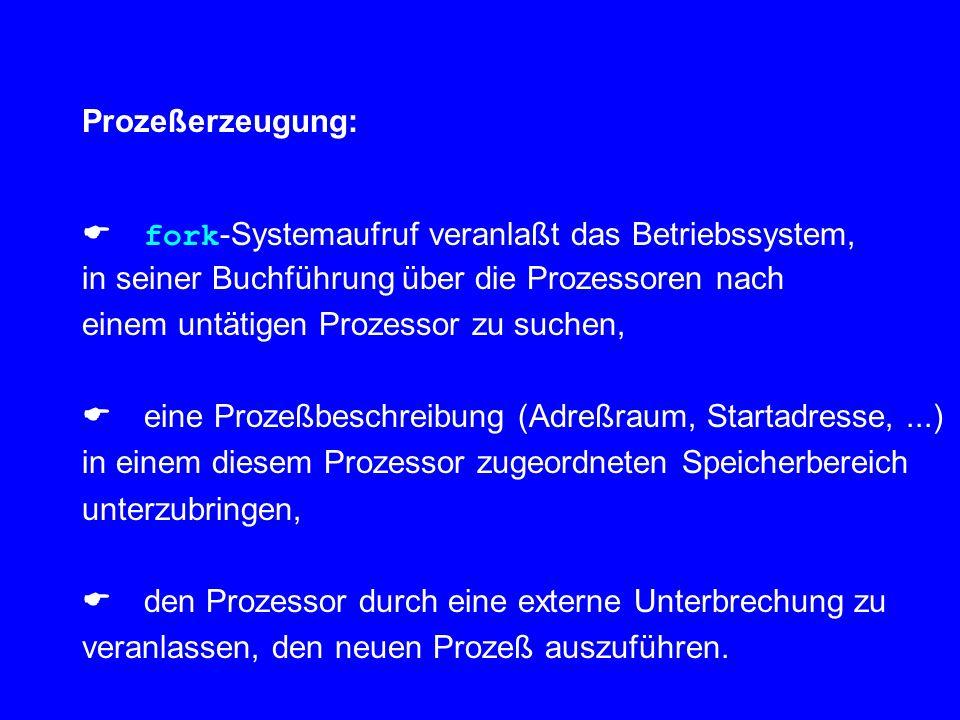 Prozeßerzeugung:  fork-Systemaufruf veranlaßt das Betriebssystem, in seiner Buchführung über die Prozessoren nach.
