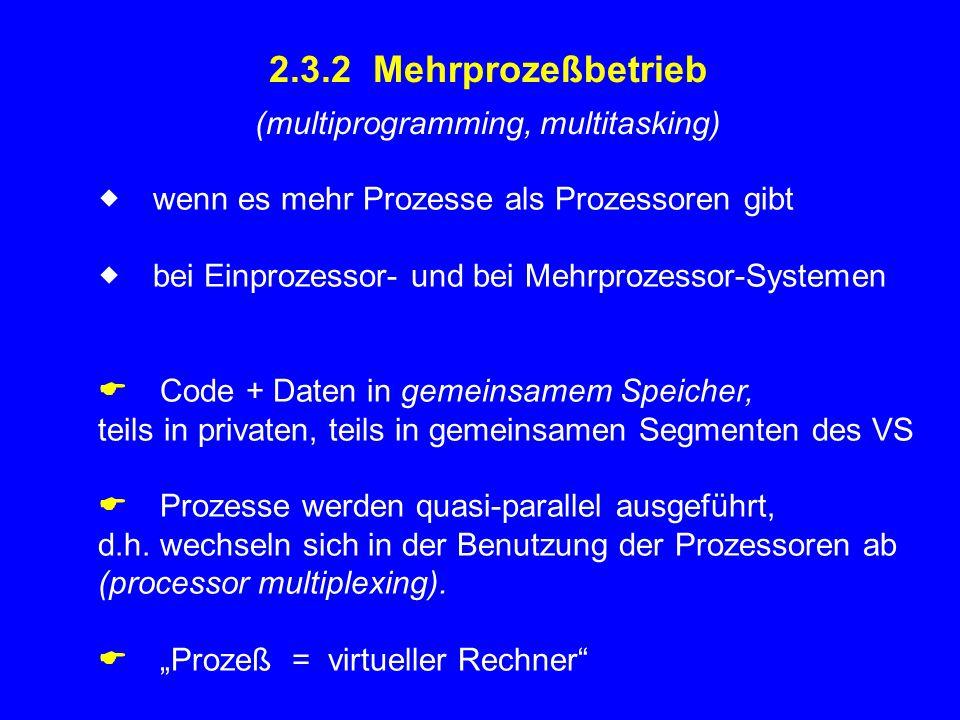 2.3.2 Mehrprozeßbetrieb (multiprogramming, multitasking)