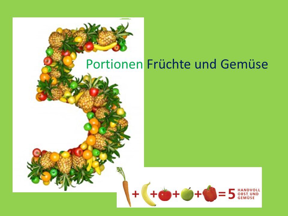 Portionen Früchte und Gemüse