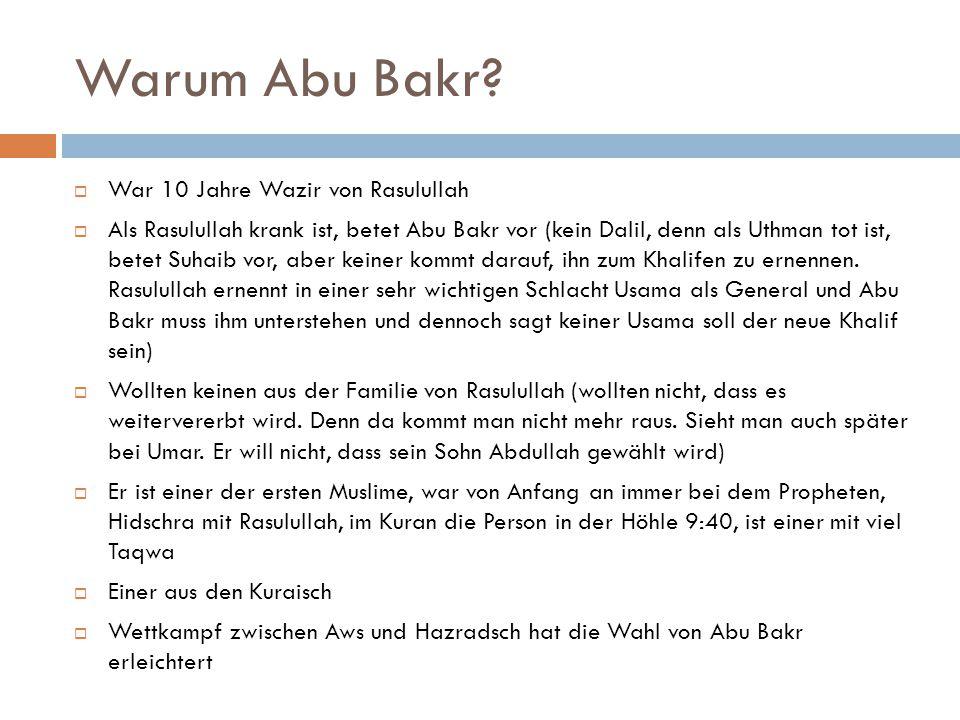 Warum Abu Bakr War 10 Jahre Wazir von Rasulullah
