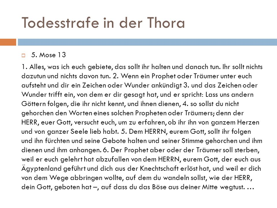Todesstrafe in der Thora