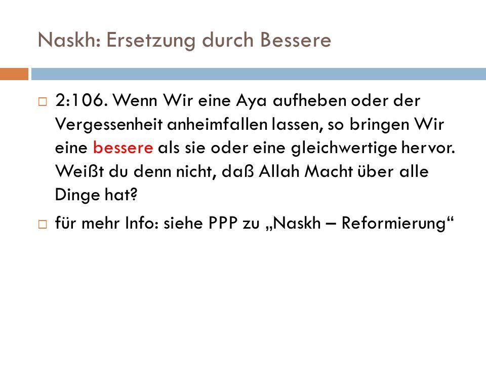 Naskh: Ersetzung durch Bessere