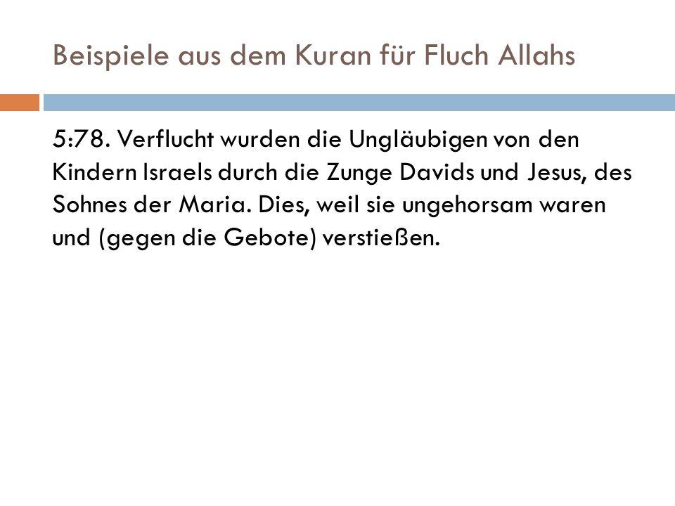 Beispiele aus dem Kuran für Fluch Allahs