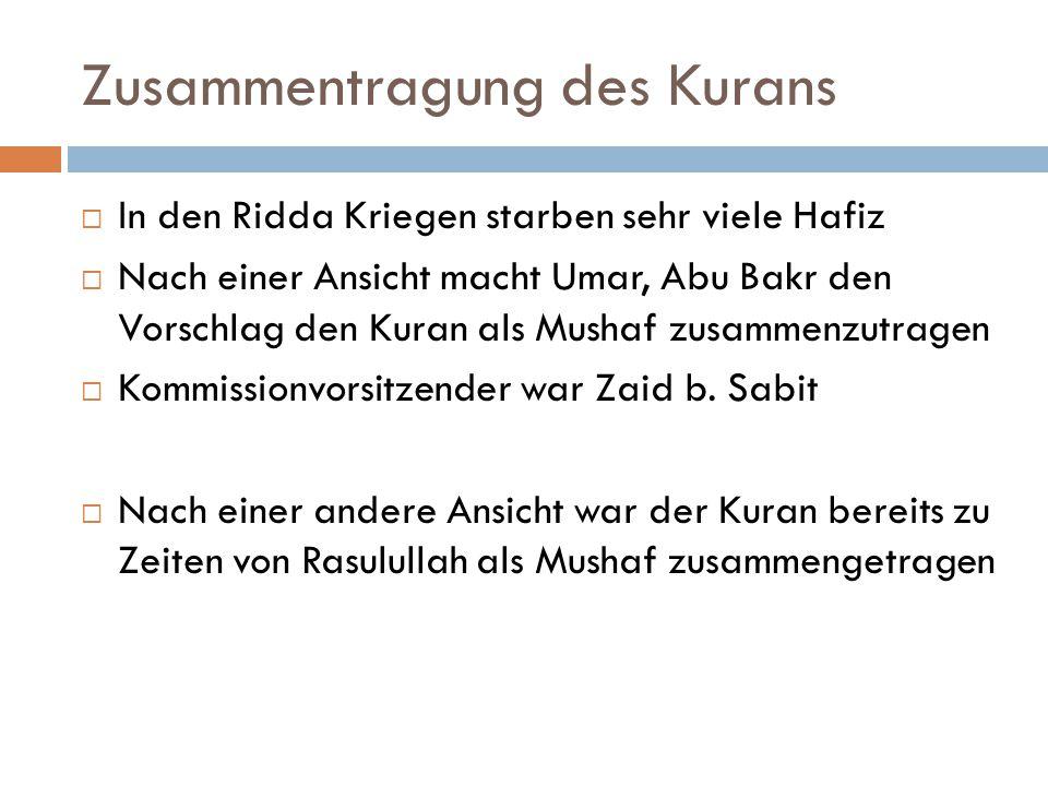 Zusammentragung des Kurans