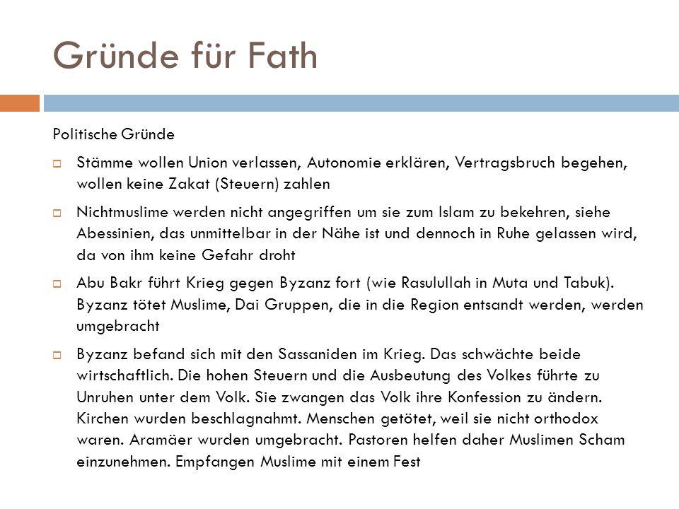 Gründe für Fath Politische Gründe
