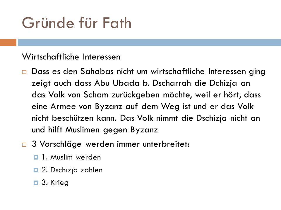 Gründe für Fath Wirtschaftliche Interessen