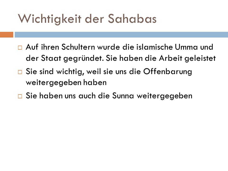 Wichtigkeit der Sahabas