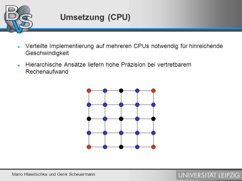 Umsetzung (CPU) Verteilte Implementierung auf mehreren CPUs notwendig für hinreichende Geschwindigkeit.