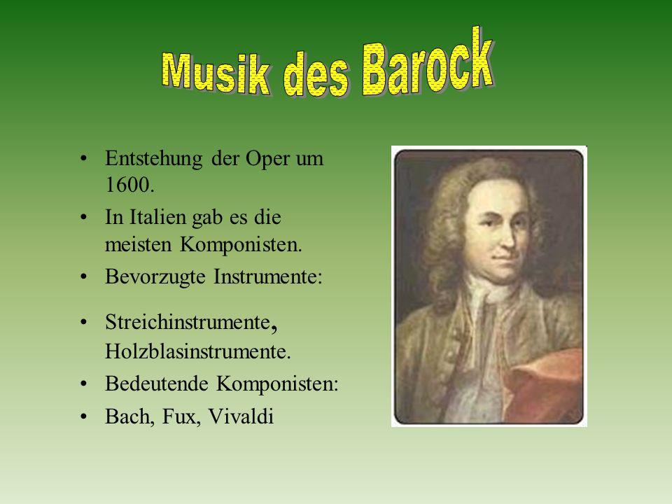 Musik des Barock Entstehung der Oper um 1600.