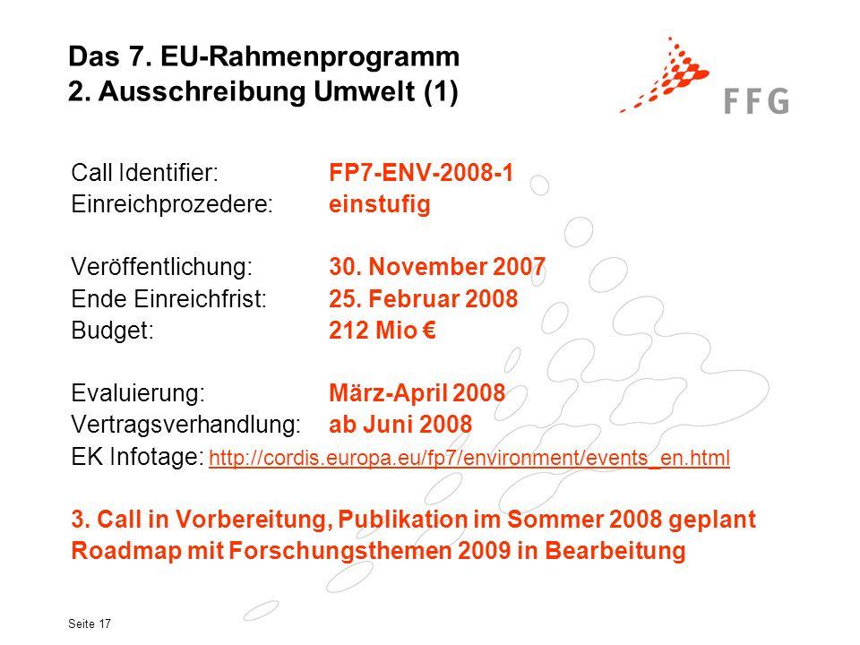 Das 7. EU-Rahmenprogramm 2. Ausschreibung Umwelt (1)