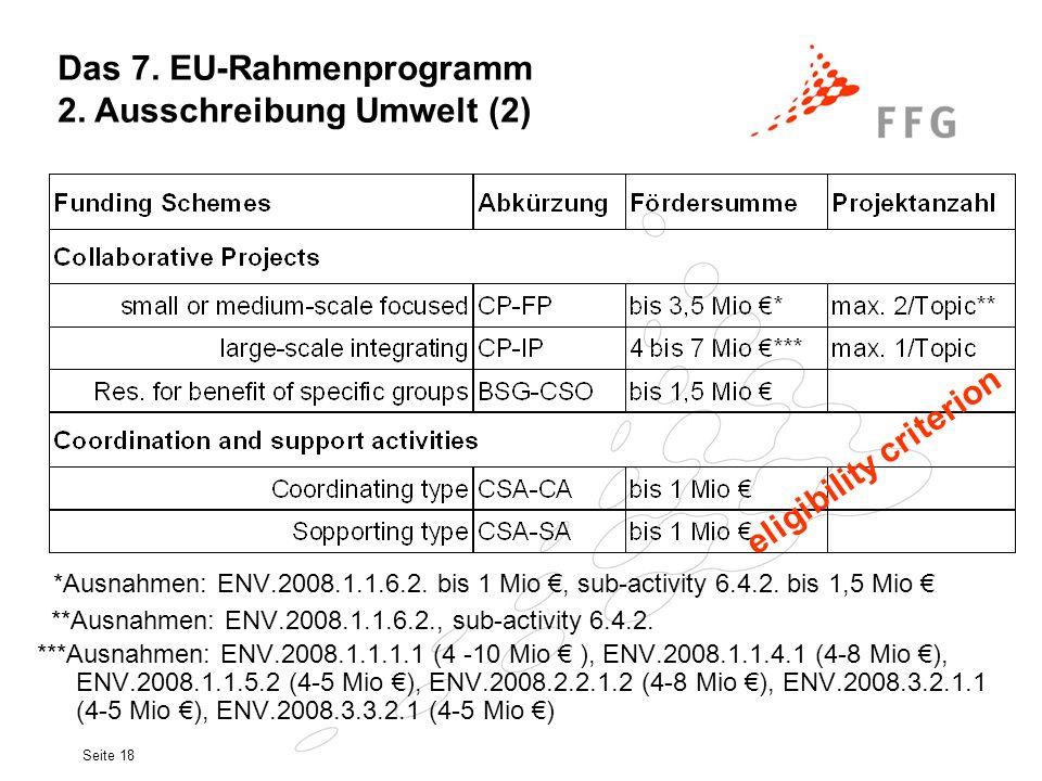 Das 7. EU-Rahmenprogramm 2. Ausschreibung Umwelt (2)