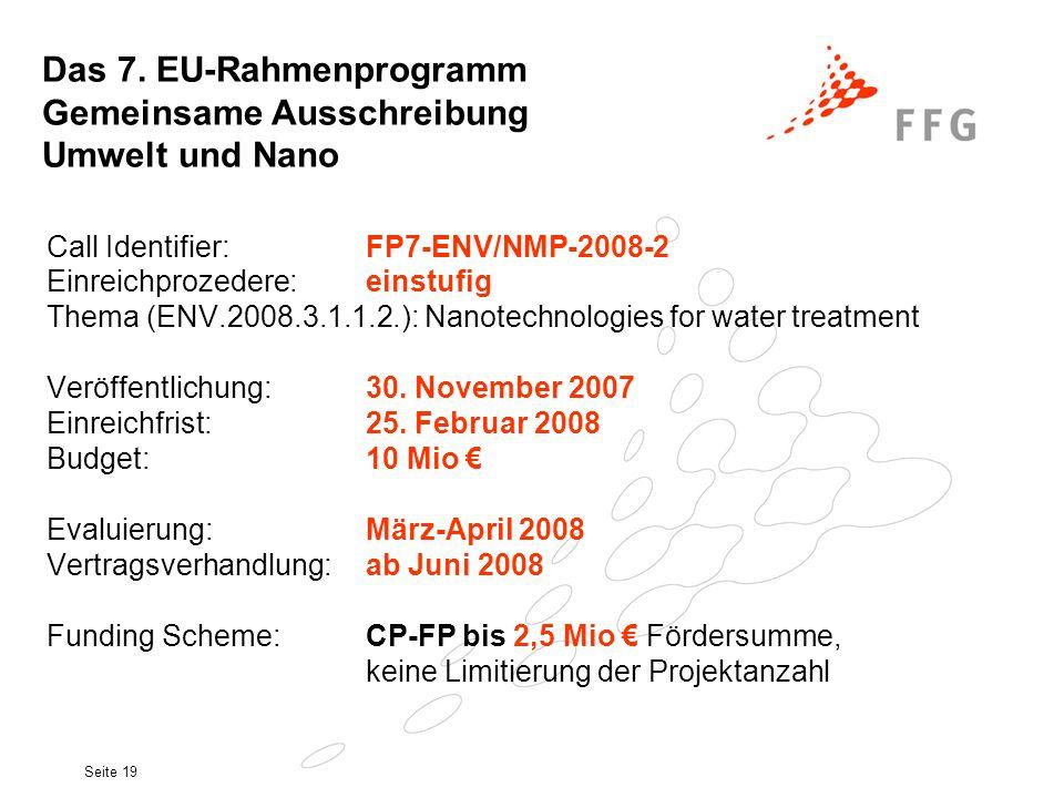 Das 7. EU-Rahmenprogramm Gemeinsame Ausschreibung Umwelt und Nano