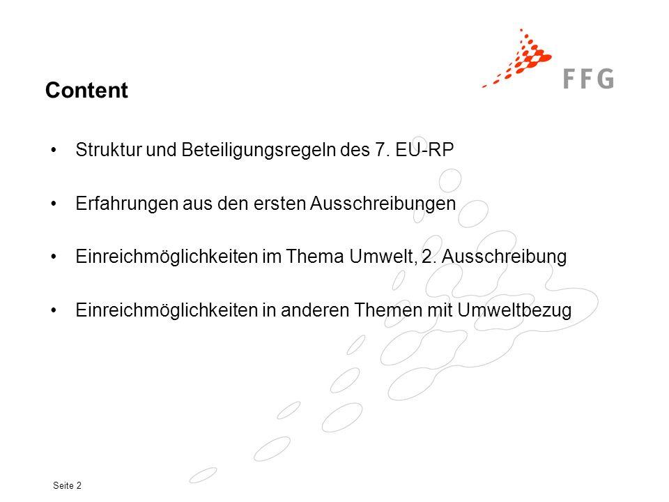 Content Struktur und Beteiligungsregeln des 7. EU-RP