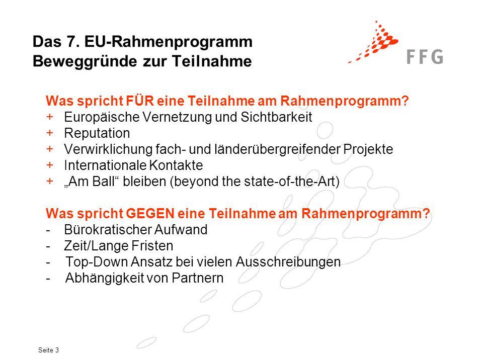 Das 7. EU-Rahmenprogramm Beweggründe zur Teilnahme