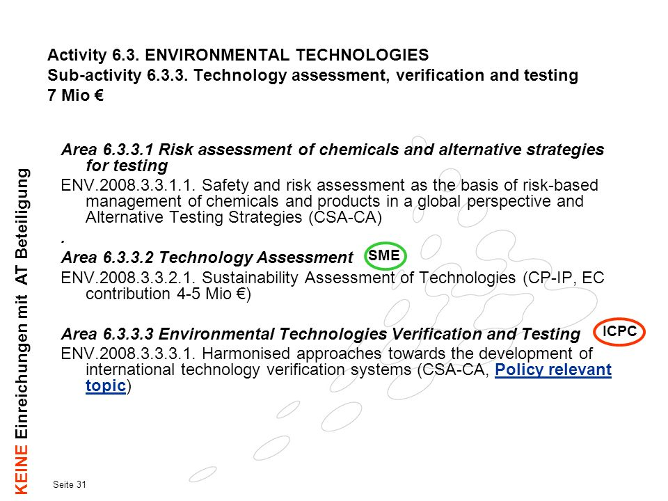 Area 6.3.3.2 Technology Assessment