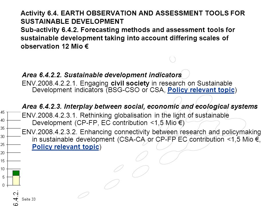 Activity 6.4. EARTH OBSERVATION AND ASSESSMENT TOOLS FOR SUSTAINABLE DEVELOPMENT Sub-activity 6.4.2. Forecasting methods and assessment tools for sustainable development taking into account differing scales of observation 12 Mio €