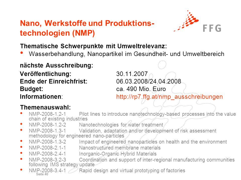 Nano, Werkstoffe und Produktions- technologien (NMP)