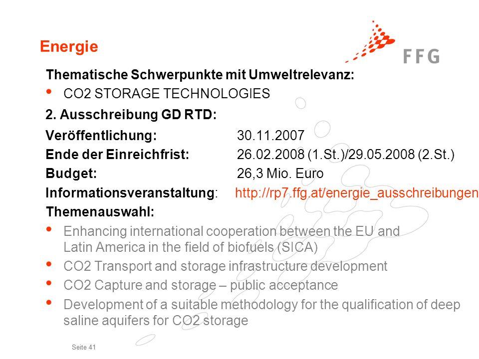 Energie Thematische Schwerpunkte mit Umweltrelevanz: