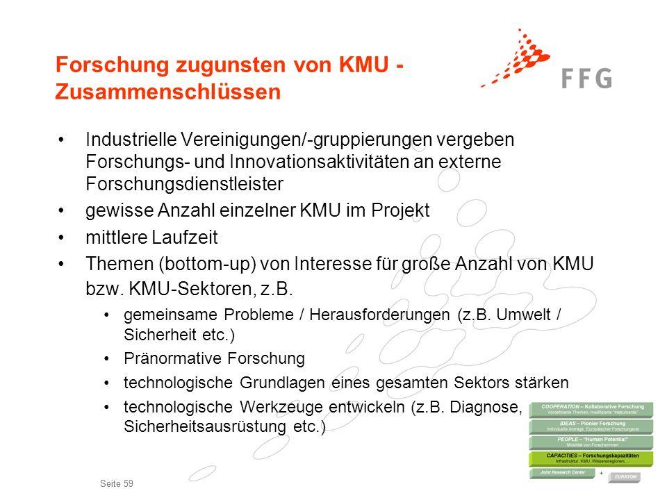 Forschung zugunsten von KMU - Zusammenschlüssen