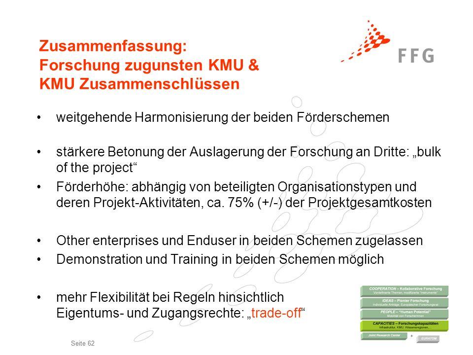 Zusammenfassung: Forschung zugunsten KMU & KMU Zusammenschlüssen