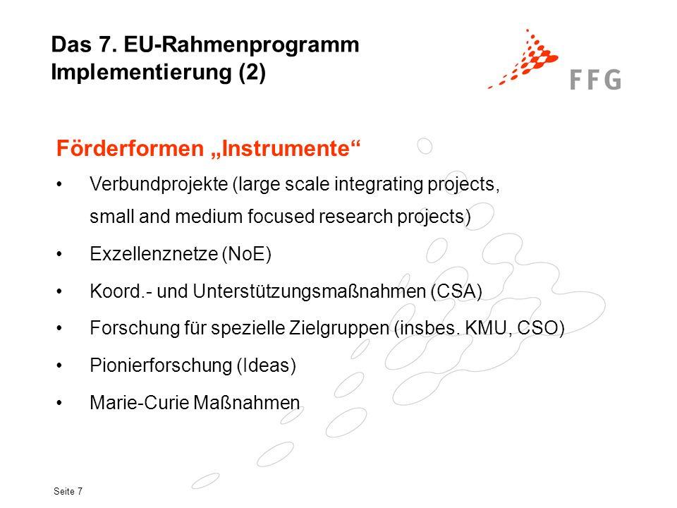 Das 7. EU-Rahmenprogramm Implementierung (2)